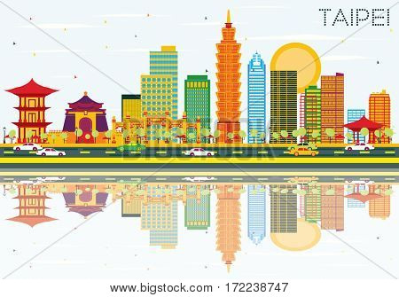 Taipei Skyline with Color Buildings, Blue Sky and Reflections. Business Travel and Tourism Concept. Image for Presentation Banner Placard and Web Site.