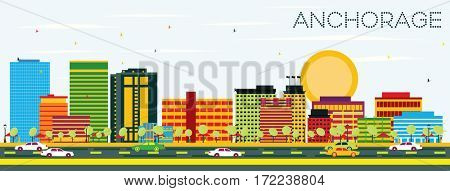 Anchorage Skyline with Color Buildings and Blue Sky. Business Travel and Tourism Concept. Image for Presentation Banner Placard and Web Site.