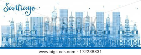 Outline Santiago Chile Skyline with Blue Buildings. Business Travel and Tourism Concept with Modern Buildings. Image for Presentation Banner Placard and Web Site.