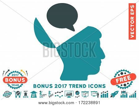 Soft Blue Open Mind Opinion pictograph with bonus 2017 trend pictograph collection. Vector illustration style is flat iconic bicolor symbols white background.