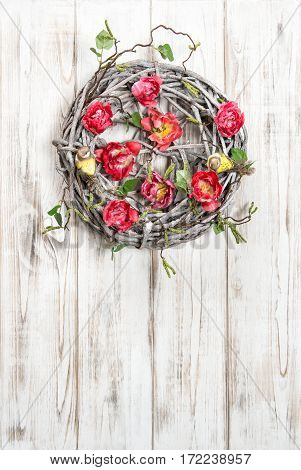 Easter wreath with tulip flowers. Vintage style holidays decoraion