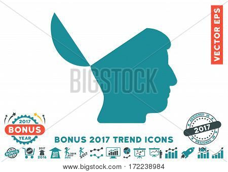 Soft Blue Open Mind pictograph with bonus 2017 trend elements. Vector illustration style is flat iconic bicolor symbols white background.