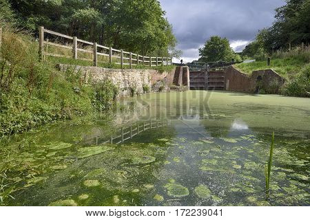 Griffin's Mill Lock on Thames & Severn Canal Brimscombe Stroud Gloucestershire