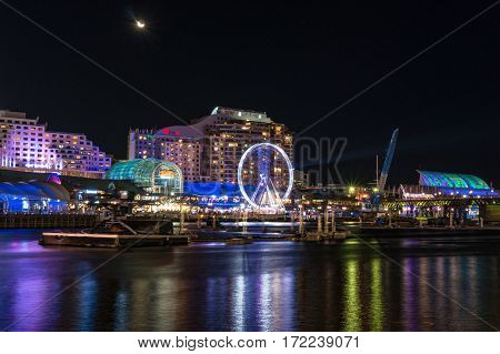 Harbourside Shopping Mall Withferris Wheel At Night