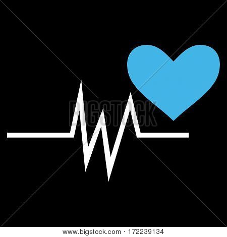 Heart Pulse Signal flat icon. Vector bicolor blue and white symbol. Pictograph is isolated on a black background. Trendy flat style illustration for web site design logo ads apps user interface.