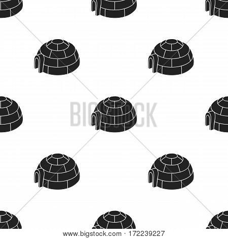 Igloo icon in black style isolated on white background. Ski resort pattern vector illustration.