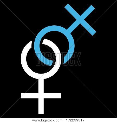 Lesbian Love Symbol flat icon. Vector bicolor blue and white symbol. Pictogram is isolated on a black background. Trendy flat style illustration for web site design logo ads apps user interface.
