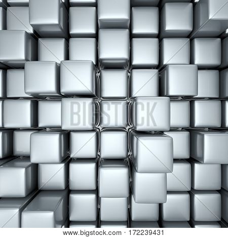 Abstract background of cubes in gray toned.. 3D rendering