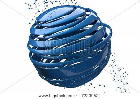 3D striped decorative balls. Abstract 3d illustration. Blue