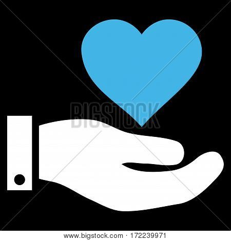 Love Heart Offer Hand flat icon. Vector bicolor blue and white symbol. Pictograph is isolated on a black background. Trendy flat style illustration for web site design logo ads apps