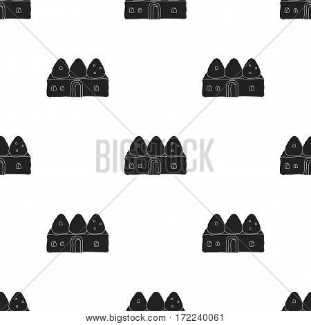Beehive house icon in black style isolated on white background. Turkey pattern vector illustration.