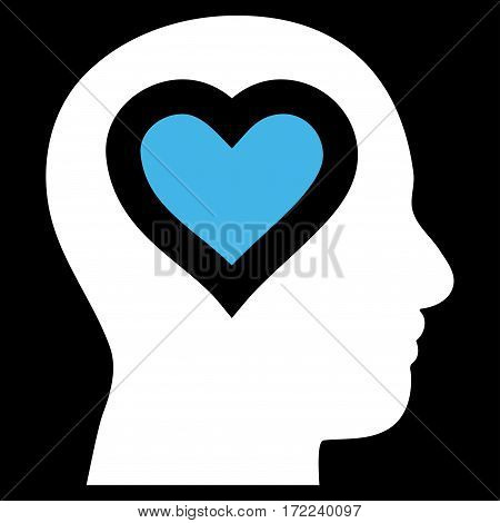 Love In Head flat icon. Vector bicolor blue and white symbol. Pictograph is isolated on a black background. Trendy flat style illustration for web site design logo ads apps user interface.