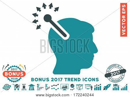 Soft Blue Optical Neural Interface icon with bonus 2017 year trend clip art. Vector illustration style is flat iconic bicolor symbols white background.