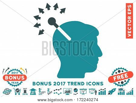 Soft Blue Optical Neural Interface pictogram with bonus 2017 trend clip art. Vector illustration style is flat iconic bicolor symbols white background.