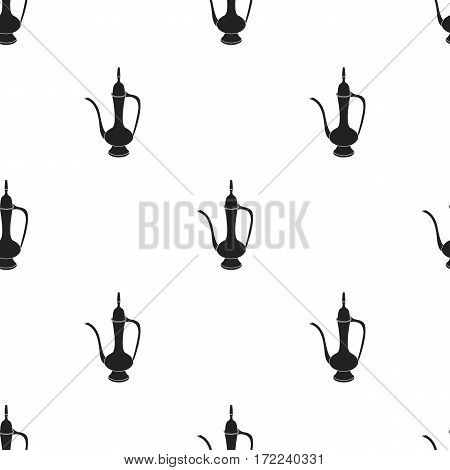 Coffee jug icon in black style isolated on white background. Turkey pattern vector illustration.