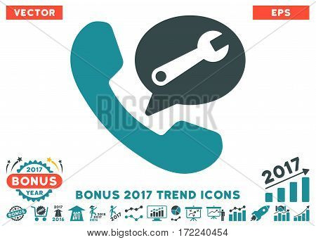 Soft Blue Phone Service Message pictogram with bonus 2017 trend clip art. Vector illustration style is flat iconic bicolor symbols white background.