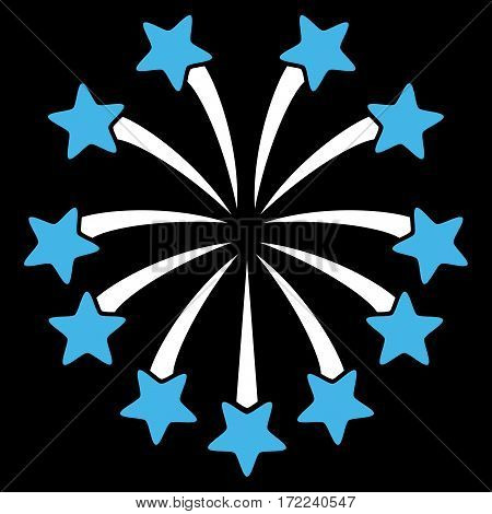 Spherical Fireworks flat icon. Vector bicolor blue and white symbol. Pictogram is isolated on a black background. Trendy flat style illustration for web site design logo ads apps user interface.