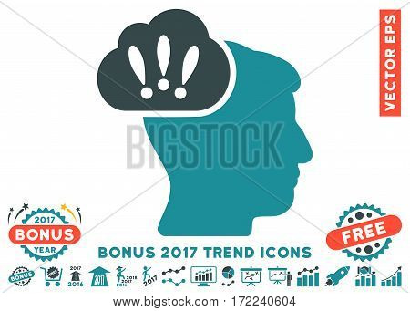 Soft Blue Problem Brainstorm pictogram with bonus 2017 year trend design elements. Vector illustration style is flat iconic bicolor symbols white background.