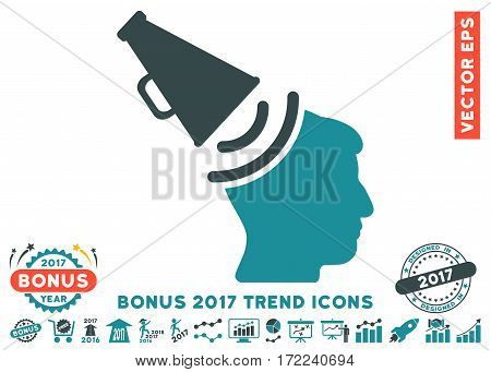Soft Blue Propaganda Megaphone pictogram with bonus 2017 year trend pictograms. Vector illustration style is flat iconic bicolor symbols white background.
