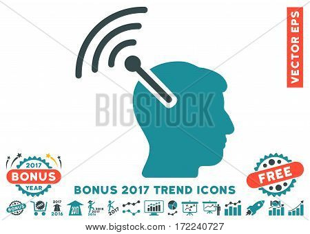Soft Blue Radio Neural Interface pictograph with bonus 2017 year trend pictures. Vector illustration style is flat iconic bicolor symbols white background.
