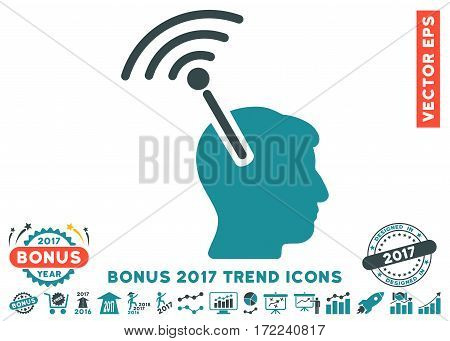 Soft Blue Radio Neural Interface icon with bonus 2017 trend clip art. Vector illustration style is flat iconic bicolor symbols white background.