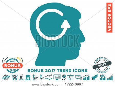 Soft Blue Refresh Head Memory pictogram with bonus 2017 trend elements. Vector illustration style is flat iconic bicolor symbols white background.