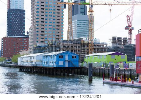 construction site with canteens for the workers in the rotterdam harbor