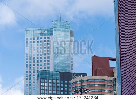 ROTTERDAM NETHERLANDS - MAY 14 2016: Modern office towers in the city center of rotterdam