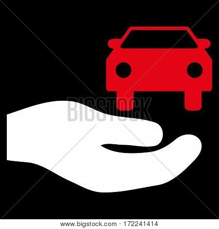 Car Gift Hand flat icon. Vector bicolor red and white symbol. Pictogram is isolated on a black background. Trendy flat style illustration for web site design logo ads apps user interface.