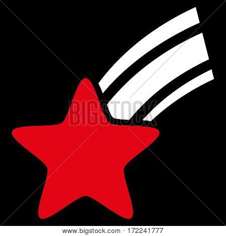 Falling Star flat icon. Vector bicolor red and white symbol. Pictogram is isolated on a black background. Trendy flat style illustration for web site design logo ads apps user interface.