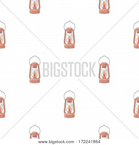 Kerosene lamp icon in cartoon style isolated on white background. Light source pattern vector illustration