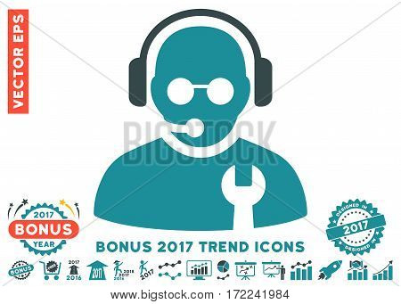 Soft Blue Service Operator icon with bonus 2017 trend pictograph collection. Vector illustration style is flat iconic bicolor symbols white background.