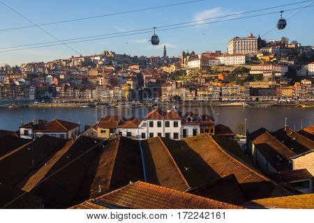 Top view of Porto old city center, Portugal.