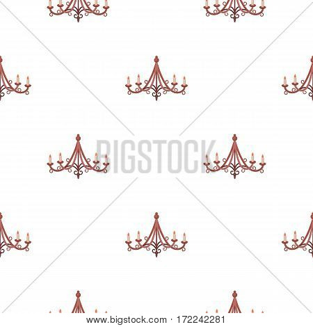 Chandelier icon in cartoon style isolated on white background. Light source pattern vector illustration