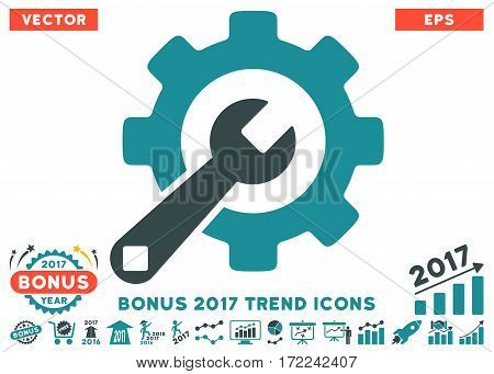 Soft Blue Service Tools pictograph with bonus 2017 trend pictograph collection. Vector illustration style is flat iconic bicolor symbols white background.