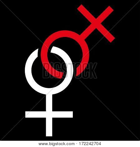 Lesbian Love Symbol flat icon. Vector bicolor red and white symbol. Pictogram is isolated on a black background. Trendy flat style illustration for web site design logo ads apps user interface.