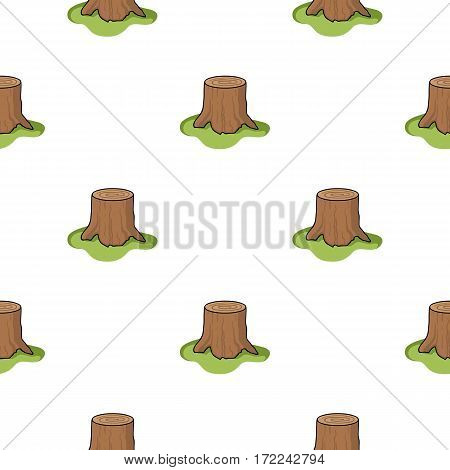 Tree stump icon in cartoon style isolated on white background. Sawmill and timber pattern stock vector illustration.