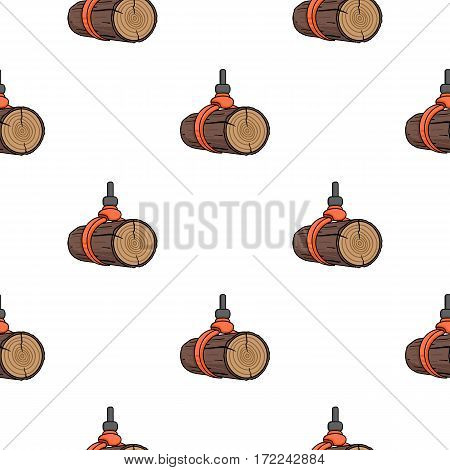 Hydraulic crane icon in cartoon style isolated on white background. Sawmill and timber pattern vector illustration.