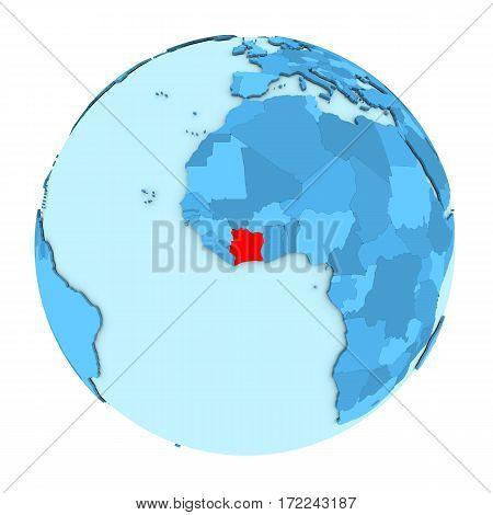 Ivory Coast On Globe Isolated