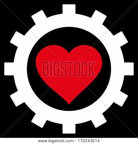 Love Heart Options Gear flat icon. Vector bicolor red and white symbol. Pictograph is isolated on a black background. Trendy flat style illustration for web site design logo ads apps