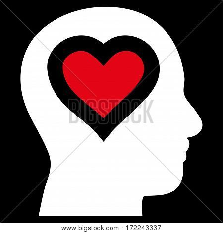 Love In Head flat icon. Vector bicolor red and white symbol. Pictograph is isolated on a black background. Trendy flat style illustration for web site design logo ads apps user interface.