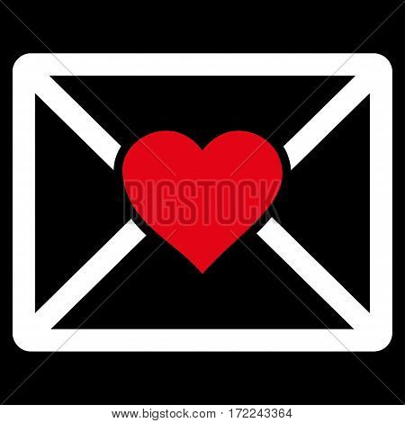 Love Letter flat icon. Vector bicolor red and white symbol. Pictogram is isolated on a black background. Trendy flat style illustration for web site design logo ads apps user interface.