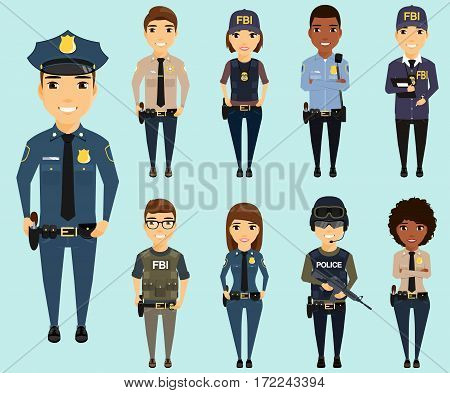 Set of different law enforcement agencies. Young boys and girls. Defenders of citizens in different areas of law enforcement. Sheriff, special forces, Federal Bureau of Investigation, a police officer.