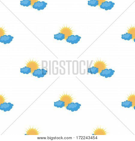 Cloudy weather icon in cartoon style isolated on white background. Weather pattern vector illustration.