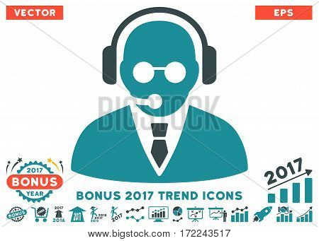 Soft Blue Support Manager pictograph with bonus 2017 year trend pictograph collection. Vector illustration style is flat iconic bicolor symbols white background.