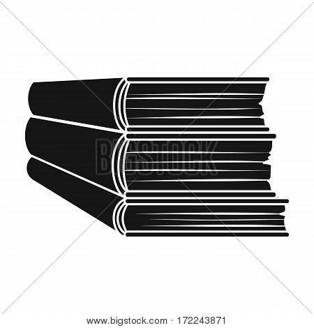 Stack of books icon in black design isolated on white background. Books symbol stock vector illustration.