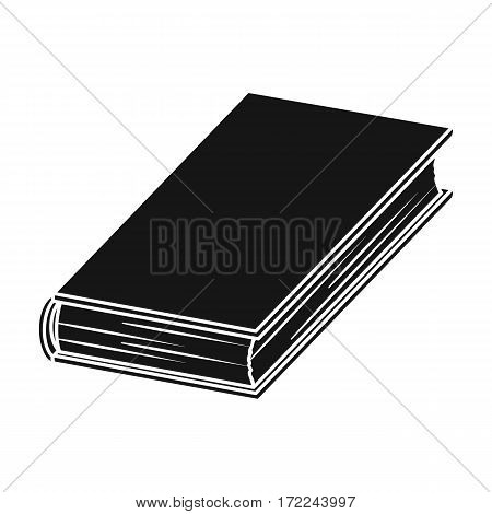 Black book icon in black design isolated on white background. Books symbol stock vector illustration.