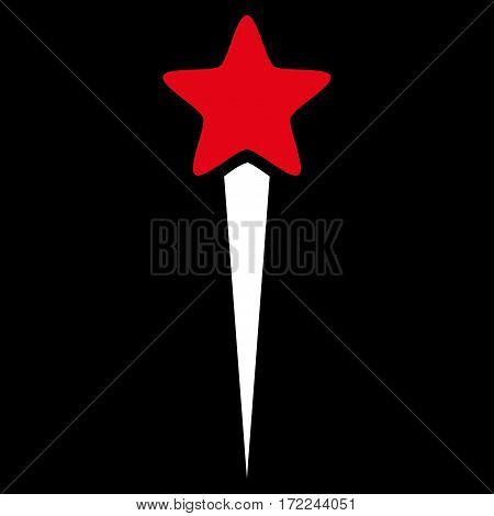 Starting Star flat icon. Vector bicolor red and white symbol. Pictogram is isolated on a black background. Trendy flat style illustration for web site design logo ads apps user interface.