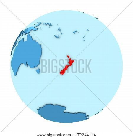 New Zealand On Globe Isolated