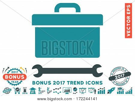 Soft Blue Toolbox pictograph with bonus 2017 trend images. Vector illustration style is flat iconic bicolor symbols white background.